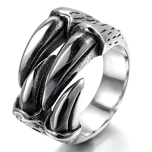 [Stainless Steel Ring for Men, Claw Ring Gothic Silver Band 17MM Size 10 Epinki] (King Triton Costume Ideas)