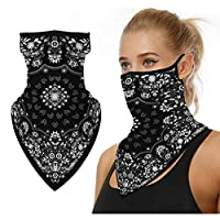 Face Bandana Ear Loops Men Women Neck Gaiters Warm Windproof Face Cover for Dust Wind Motorcycle Cycling