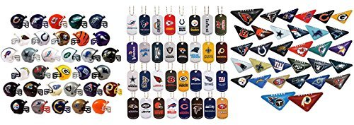 Mini Nfl Football Helmets, Table TOP Footballs, and Dog Tags Complete Sets of 32 Each, Total 96 Licensed Items]()