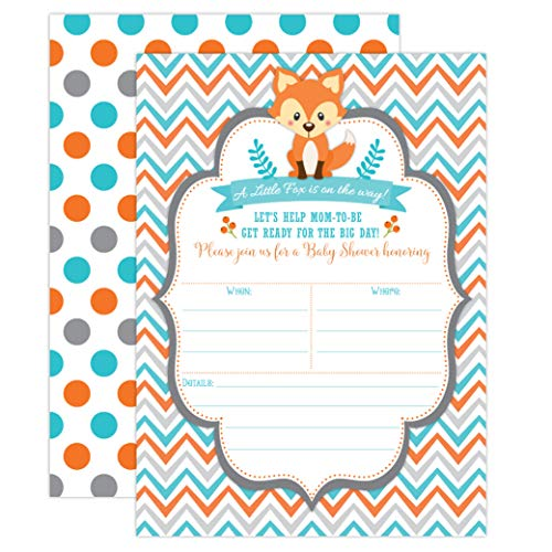 Fox Baby Shower Invitations, Woodland Baby Shower Invitations, Boy Baby Shower Invitations, Blue and Orange, Little Fox Invitations, 20 Fill in Invitations and Envelopes - All Star Football Invitations