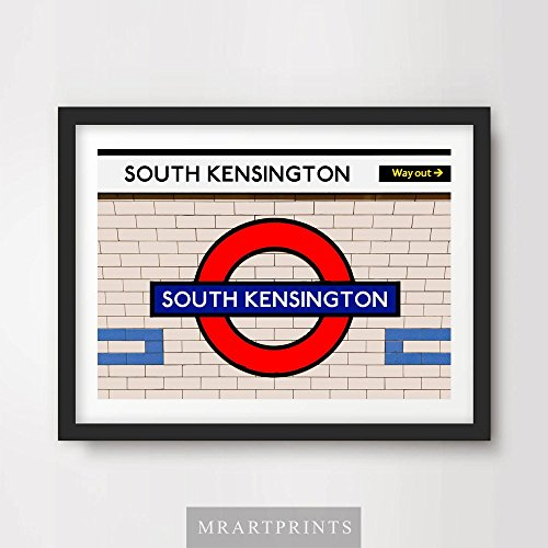 LONDON UNDERGROUND SOUTH KENSINGTON ART PRINT POSTER Tube Station Sign Train Railway British Urban City Metro Subway Decor A4 A3 A2 (10 Size (Metro Sign)