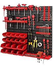 Opslagsysteem gereedschapswand 772 x 780 – set gereedschapshouder en stapelboxen – wandrek werkplaatsrek morsen