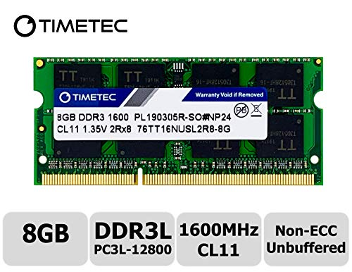 Timetec Hynix IC 8GB DDR3L 1600MHz PC3L-12800 Non ECC Unbuffered 1.35V CL11 2Rx8 Dual Rank 204 Pin SODIMM Laptop Notebook Computer Memory Ram Module Upgrade(8GB)
