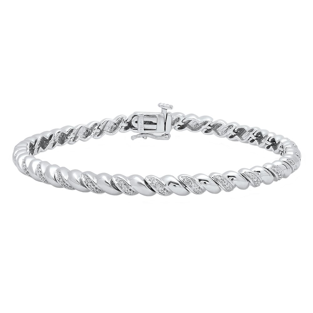 0.25 Carat (ctw) Sterling Silver Round White Diamond Ladies Rope Style Tennis Link Bracelet 1/4 CT