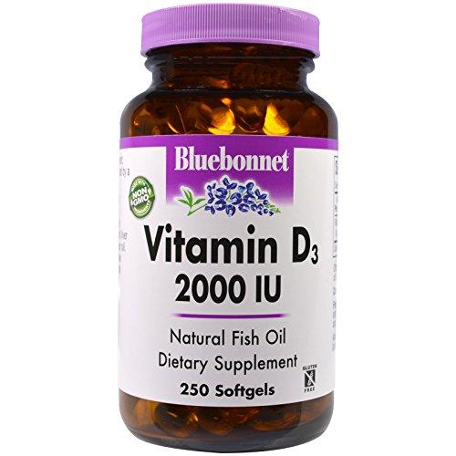 Bluebonnet Nutrition, Vitamin D3, 2,000 IU, 250 Softgels - 3PC by Bluebonnet Nutrition