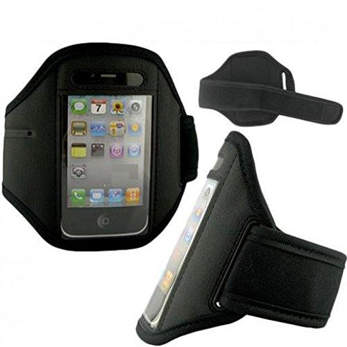 Armband Sports Gym Workout Cover Case Jogging Arrm Strap Band Neoprene Black for Verizon LG Optimus Zone 2 - Verizon LG Vortex VS660 - Verizon Palm Treo 700w (Palm Treo 700 Silicone Case)