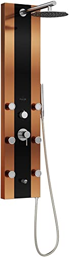 PULSE ShowerSpas 1049B-BN Rio ShowerSpa Panel with 10 Rain Showerhead, 6 Body Spray Jets, Hand Shower and Tub Spout, Black Tempered Glass with Bronze Stainless Steel Body and Brushed Nickel Fixtures