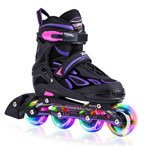 2PM SPORTS Vinal Girls Adjustable Inline Skates with Light up Wheels Beginner Skates Fun Illuminating Roller Skates for Kids Boys and Ladies - Violet M