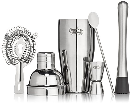 Buddy-16-Piece-Stainless-Steel-Wine-and-Cocktail-Bar-Set-Bar-Kit-Includes-Essential-Barware-Tools-and-Ice-Bucket-wBonus-1000-Bartender-Recipes-eBook
