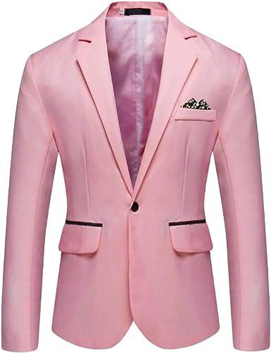 Chaquetas de Hombre,JiaMeng Blazer sólido Informal Elegante Boda de Negocios Outwear Abrigo Traje Tops Encanto Hombres Casual Suit Blazer Coat Delgado ...