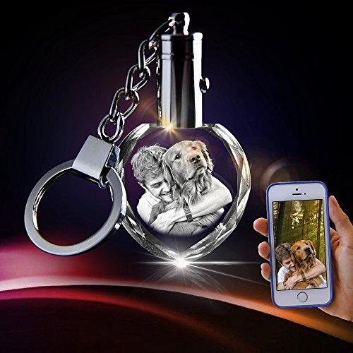(3D Crystal Key Chain - Unique Custom Gift (Heart Keychain))