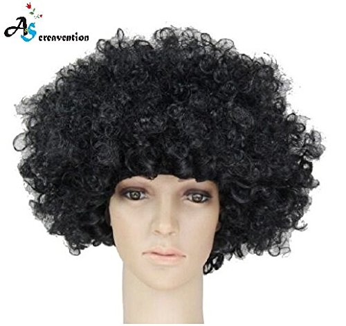 S.P.S Party Clown Disco Wig Make up Accessorie Fake Hair Wear (Black) (Clown Makeup Styles)