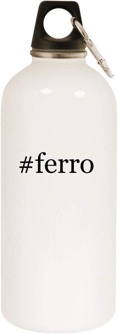 #ferro - 20oz Hashtag Stainless Steel White Water Bottle with Carabiner, White 51O25NKnEfL