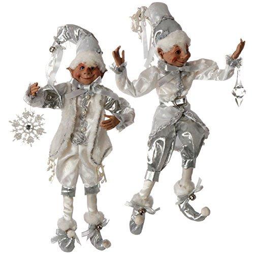 """RAZ Imports 16"""" Silver & White Posable Elves"""