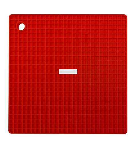 Siliconezone SZ11KA-11426AH Grid Pot Holder, 7.3 inch, Red