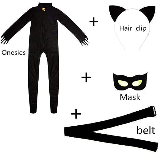 Amazon Com Cat Cosplay Jumpsuit Boy Girl Costume Black Cat Black