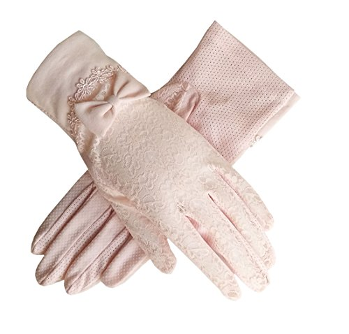 Women's Bridal Wedding Lace Gloves Derby Tea Party Gloves Victorian Gothic Costumes Gloves (Bowknot Pink)