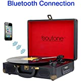 Boytone BT-101B Bluetooth Turntable Briefcase Record player AC-DC, Built in Rechargeable Battery, 2 Stereo Speakers 3-speed, LCD Display, FM Radio, USB/SD Slot, AUX / MP3, Enco (Certified Refurbished)