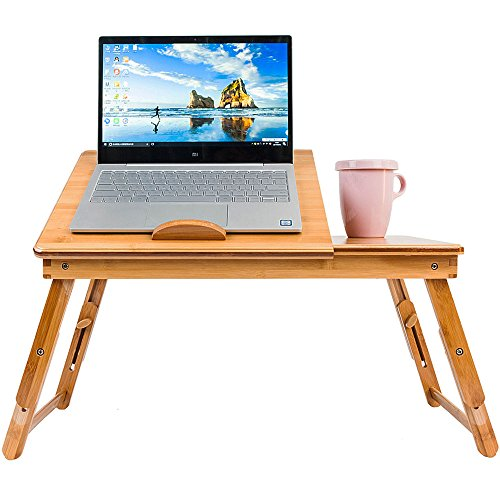 Portable Bamboo Laptop Desk Table Folding Breakfast Serving Bed Tray with Drawer table (Double Flower without Cup Tray) (Tray Breakfast Cup Holder With)