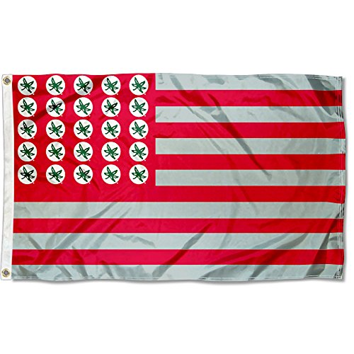 (Ohio State Buckeyes Buckeye Leaf and Stripes Flag)