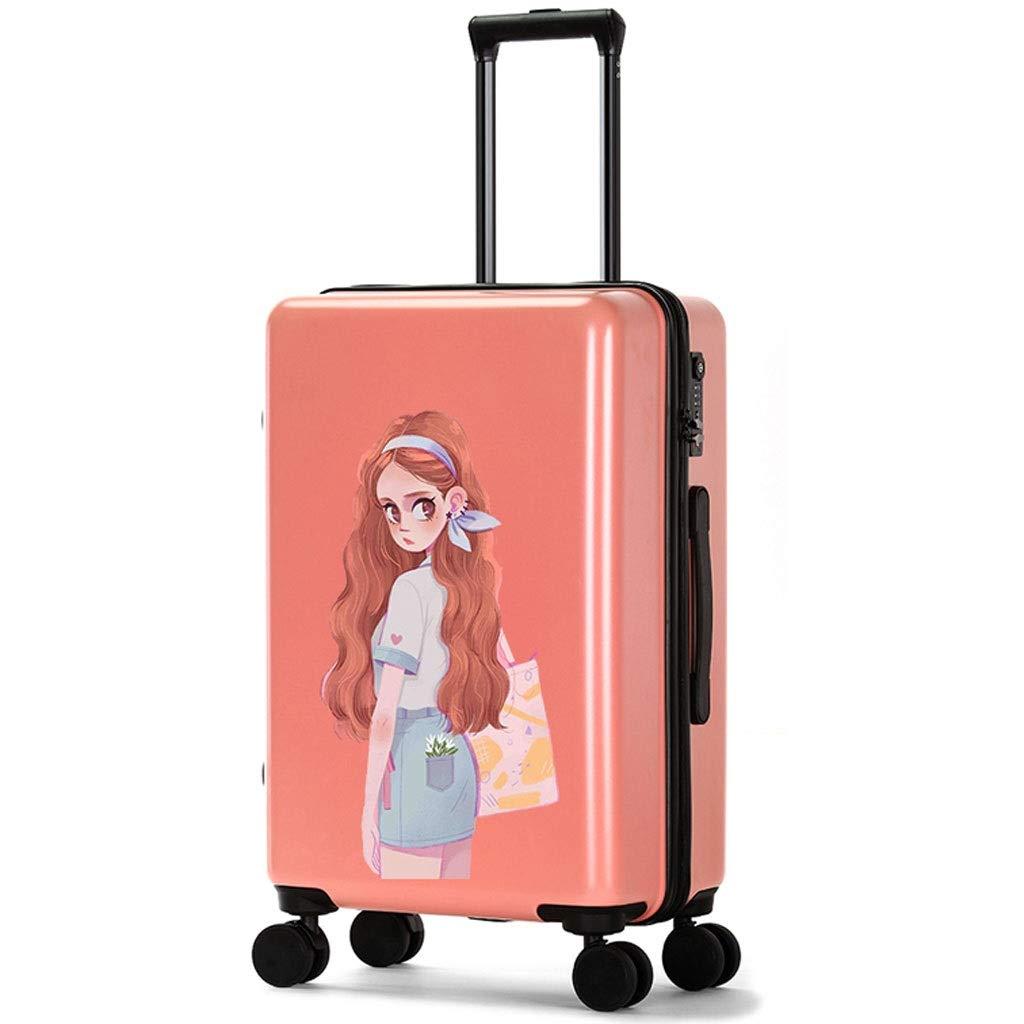 FRF トロリーケース- 男性および女性の性格のトロリー箱、学生の傷抵抗力がある無光沢のパスワードボックスのスーツケース (色 : Pink B, サイズ さいず : 20in) B07QWNTFL8
