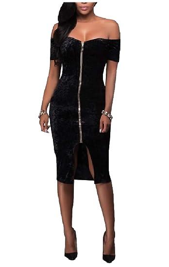 ba92c1f423a4 Tootless-Women High Low Hem Knee Length Off-Shoulder Velour Pencil Dresses  Black XS