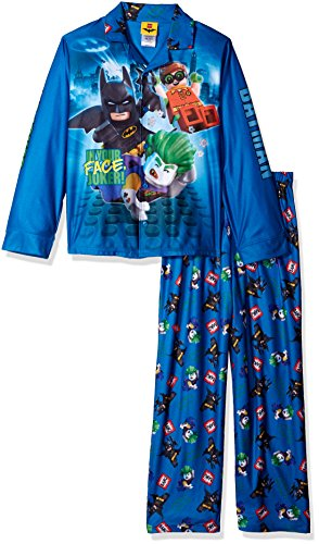 (LEGO Batman Boys' Big Coat Pajama Set, Button Front Top, with Pant, Blue, 8)
