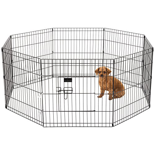 Ollieroo Dog/Cat Exercise Playpen Outdoor/Indoor Cage 8 Panels Black (Toddler Doesn T Want To Sleep Alone)