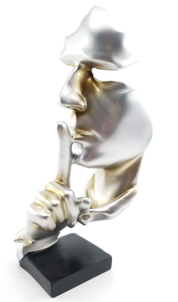 """Creative and Abstract Men Figure Statues Sculptures,Keep Silence Figurine,The Thinker Statue and Sculpture for Home Living Room Table Decoration,Office Desk Decor 11.8""""inches Tall"""