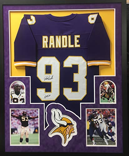 John Randle Minnesota Vikings Autograph Signed Custom Framed Jersey HOF Inscribed SUEDE MATTED Purple 4 Picture JSA Witnessed Certified