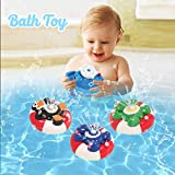 WISHTIME Spray Water Baby Bath Toy Water Pump Electronic Spray Toy Float Rotate With Fountain Floating Bathtub Shower Bathroom Toy For Baby Toddler Infant Kid Party (Penguin)