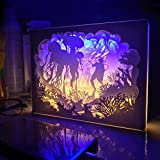 Shadow Box Coffee Table Papercut Light Box, 3D Shadow Box Led Night Light Lamp, Creative Light Paintings Decorative Mood Light, Gift for Baby and Adult, Bedroom Living Room by MY'S (Jellyfish)