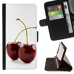 For Sony Xperia Z1 Compact D5503 - Two cherries /Funda de piel cubierta de la carpeta Foilo con cierre magn???¡¯????tico/ - Super Marley Shop -
