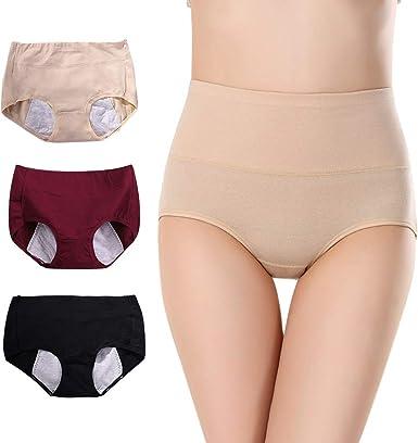 ZEVONDA Menstrual Periodo Bragas - 3 Paquete Bragas Menstruales del Período Braguitas Algodón Culotte de Cintura Alta Cómodo para Mujer Bragas(Debe usarse con tampones): Amazon.es: Ropa y accesorios