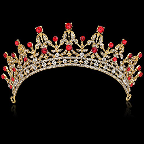 BABEYOND Crystal Queen Tiara Crown Rhinestones Pageant Quinceanera Crown Prom Princess Tiara Crown Bridal Wedding Crown Tiara Headband (Red) ()