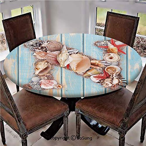 Elastic Edged Polyester Fitted Table Cover,Oceanic Invertebrates Alphabet ABC Marine Shells and Starfishes Decorative,Fits up 56