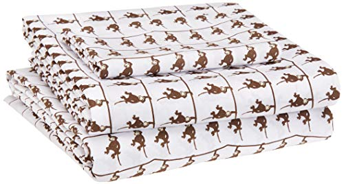 AmazonBasics Kid's Sheet Set - Soft, Easy-Wash Microfiber - Twin, Brown Monkeys