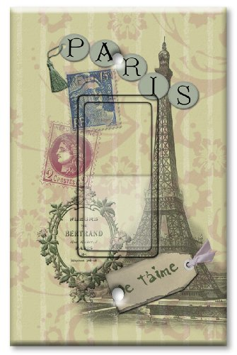 Printed Decora Rocker Style Switch with matching Wall Plate - Paris Je T'aime