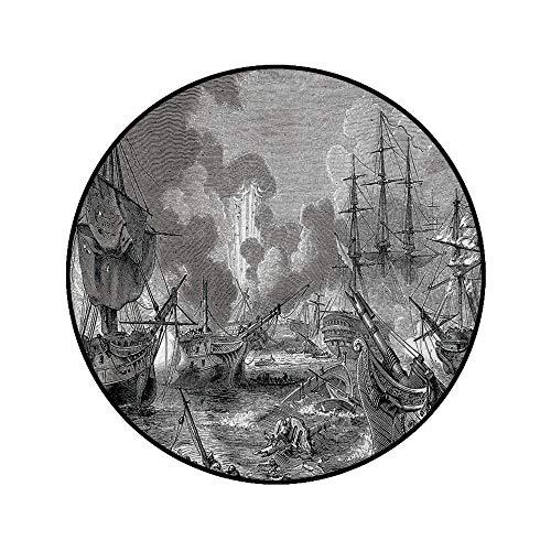 4' Round Area Rugs,Battle of Navarino Naval Armada Sinking Sailing Vessels War Portrait Super Soft Washable Carpet for Living Room Bedroom Home Children Playroom Nursery, Black White