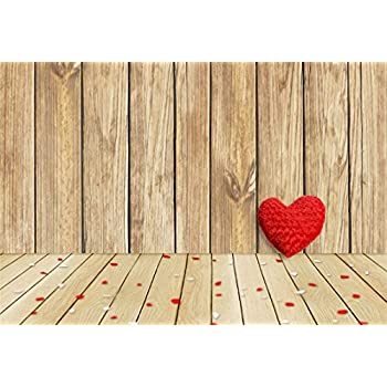 AOFOTO 9x6ft Love Heart On Wooden Board Photography Backdrop Valentines Day Background Blurry Confetti Rustic Wood Plate Family Lovers Couples Artistic