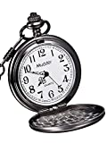 Mudder Classic Smooth Vintage Steel Mens Pocket Watch Xmas Gift (Black)