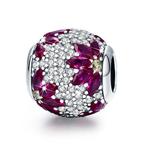 BAMOER 925 Sterling Silver Spring CZ Solid Bead Charm Fits Bracelet and Necklace