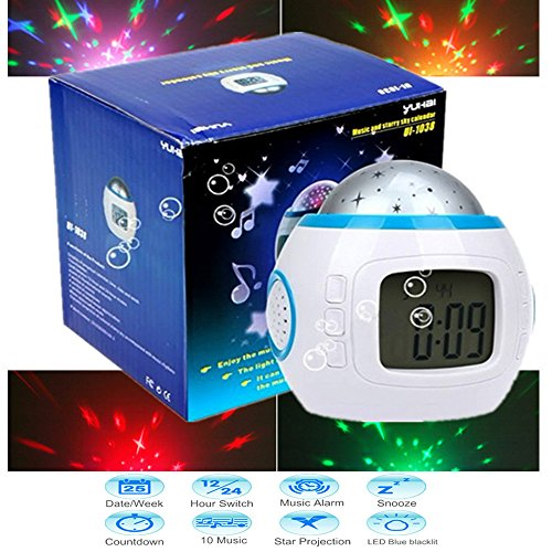 Star Projector clocks,Baby Projection Lamp LED Alarm Clock WITH Snooze Calendar Thermometer function for Children,Night Lights For Kids,Music Digital clocks for Adults bedrooms