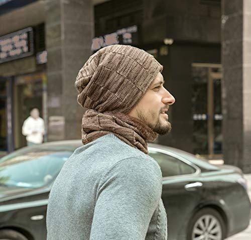 Z-Dear Winter Beanie Hat Scarf Set, Unisex Warm Hat, Thick Fleece Lined Winter Knit Hat