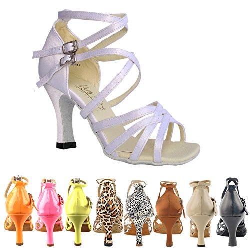 50 Tinten 5008 Comfort Avondjurk Pump Sandalen, Dames Ballroom Dansschoenen (2,5, 3 & 3,5 Hoge Hakken) Wit Satijn
