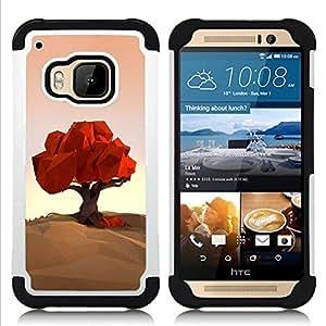 """HTC One M9 /M9s / One Hima - 3 en 1 impreso colorido de Altas Prestaciones PC Funda chaqueta Negro cubierta gel silicona suave (Polígono Arte Naturaleza Otoño Otoño"""")"""