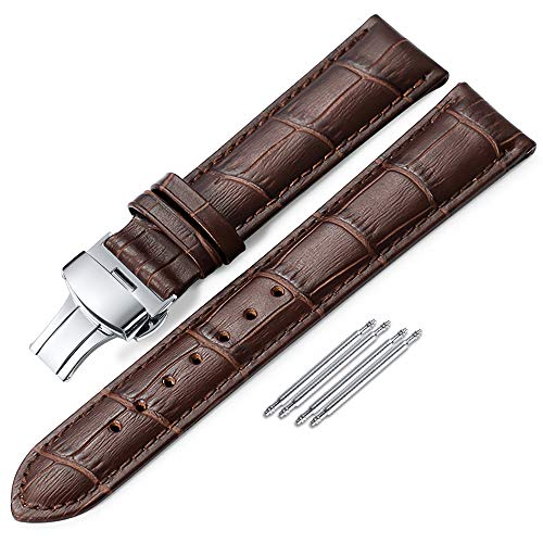 (iStrap 20mm Croco Calf Leather Replacement Watch Band Strap w/Push Button Deployment Clasp)