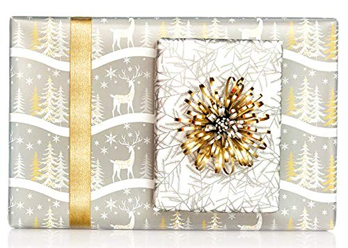 Reversible Metallic Gold Silver Reindeer Christmas Trees Gift Wrap Wrapping Paper - 15 Foot Roll