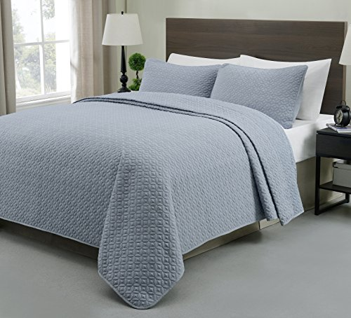 Cozy Beddings S1604-3T Allyson 2Pc Quilted Coverlet,Stone Blue,Twin