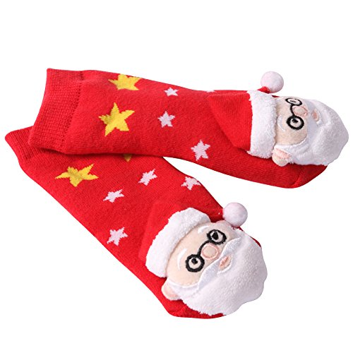 Baby Christmas Socks, HAPYCEO Baby Kids Anti-Slip Cute Cartoon Pattern Santa Claus Crew X-mas Holiday Gift Socks for Infant Toddler 6-18 months, 1 Pair